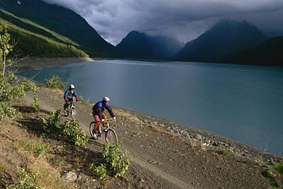 Mountain Biking Around Eklutna Lake Art Print by Rich Reid