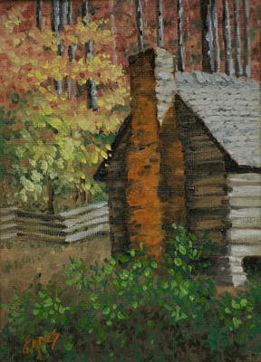 Mountain Cabin Art Print by Linda Eades Blackburn