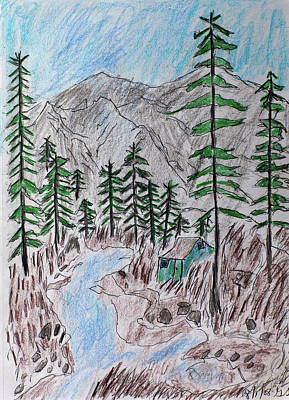 Drawing - Mountain Cabin Near A Stream by Swabby Soileau