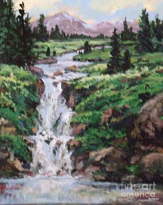 Mountain Cascade Art Print by W  Scott Fenton