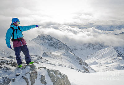 Mountain Guide Snowboard Instructor Pointing Out Peaks In Davos Print by Andy Smy