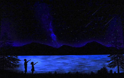 Glow In The Dark Painting - Mountain Lake Glow In The Dark Mural by Frank Wilson
