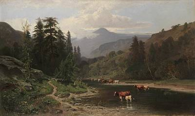 Mountain Valley Painting - Mountain Landscape With Cattle by William Keith