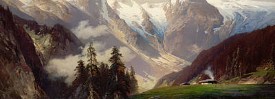 Smoke In The Fog Painting - Mountain Landscape With The Grossglockner by Nicolai Astudin