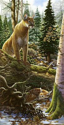 Mountain Lion With Fawn Art Print by Anne Wertheim