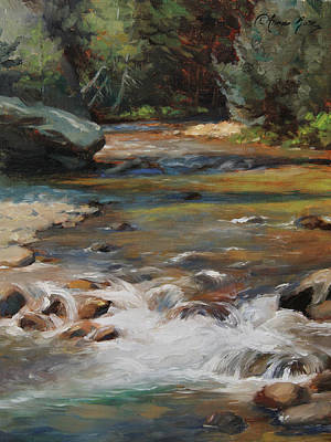 Waterfalls Painting - Mountain Stream by Anna Rose Bain