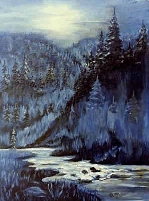 Mountain Stream In Moonlight Art Print