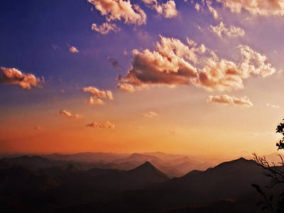 Mountain Sunset Art Print by Susan Leggett