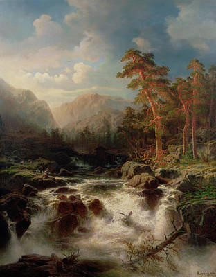 Great Outdoors Painting - Mountain Torrent Smaland by Marcus Larson