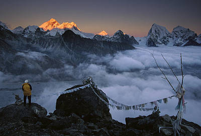 Photograph - Mountaineer Enjoying The View Of Mt by Colin Monteath