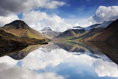 Snow Covered Photograph - Mountains And Lake, Lake District by John Short