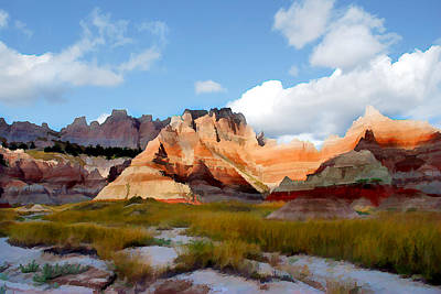 Impressionistic Digital Painting - Mountains And Sky In Badlands National Park by Elaine Plesser