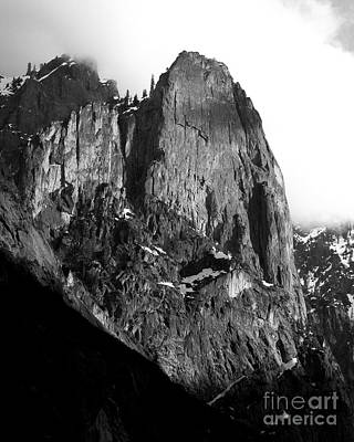 Winter And Autumn Landscape Photograph - Mountains Of Yosemite . 7d6167 . Vertical Cut . Black And White by Wingsdomain Art and Photography
