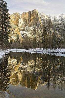 Mountains Reflecting In Merced River In Art Print by Robert Brown