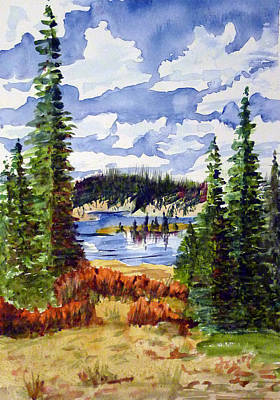 Mountian Lake Art Print by Linda Pope