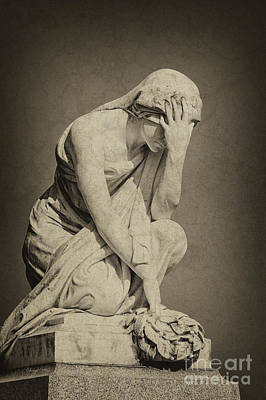 Photograph - Mourning Woman Statue by Cheryl Davis