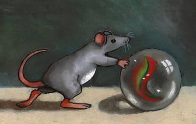 Mouse Rolling Marble Art Print by Joyce Geleynse