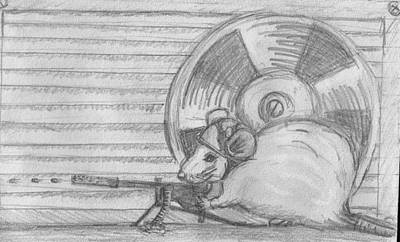 Radiator Drawing - Mouse With A Machine Gun by Bethany Compson-Bradford