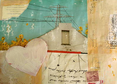 Telephone Poles Mixed Media - Moved In by Nancy Belle