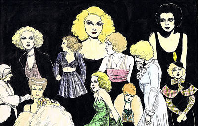 Betty Davis Drawing - Movie Ladies Montage by Mel Thompson