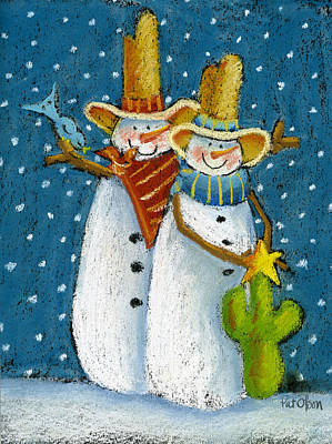 Pastel - Mr And Mrs Snowman by Pat Olson