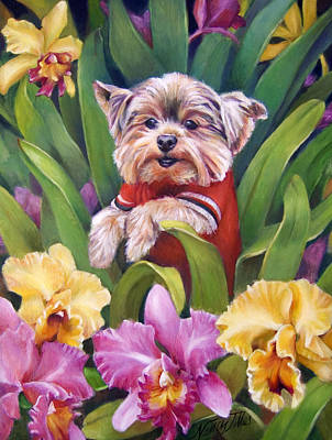 Painting - Mr. Forest In A Forest Of Orchids by Nancy Tilles