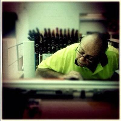 Machine Photograph - Mr Fuda Still Working At 72. Italians by Luke Fuda