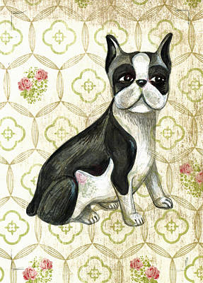Mr. Iggy The Boston Terrier Art Print by Nancy Mitchell