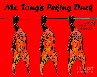 Duck Digital Art - Mr Tongs Peking Duck by Wingsdomain Art and Photography