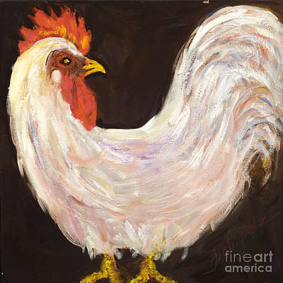 Painting - Mr. White Rooster by Pati Pelz