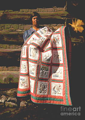 Log Cabin Art Photograph - Mrs. Bill Stagg With State Quilt by Padre Art