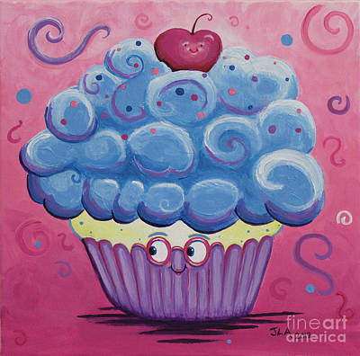 Mrs. Blue Cupcake Art Print by Jennifer Alvarez