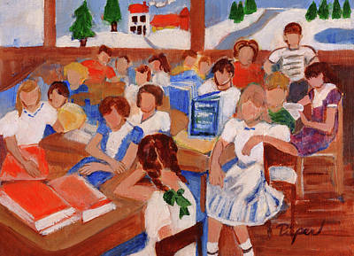 Painting - Mrs. Chamberlain's Fifth Grade In Canajoharie by Elzbieta Zemaitis