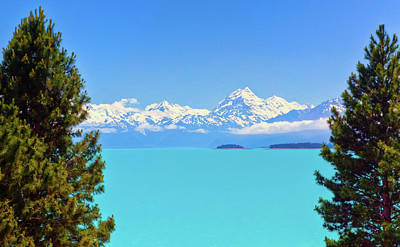 Photograph - Mt. Cook Thru The Pines At Lake Pukaki by Harry Strharsky