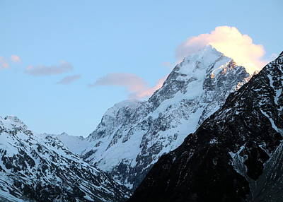 Print featuring the photograph Mt. Cook With Sunlit Clouds by Laurel Talabere