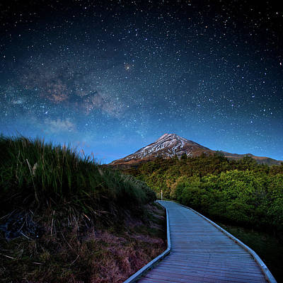 Mt. Ekmond At Night With Starlight Art Print by Coolbiere Photograph