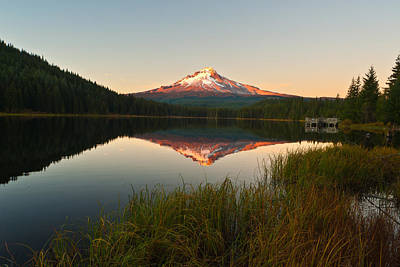 Trillium Photograph - Mt Hood From Lake Trillium by Alvin Kroon