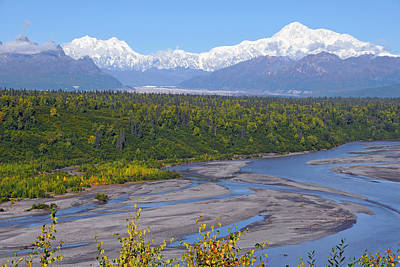 Photograph - Mt. Mckinley And Mt. Hunter by Alan Lenk
