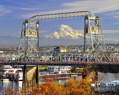 Photograph - Mt Rainier And Old Bridge by Jack Moskovita