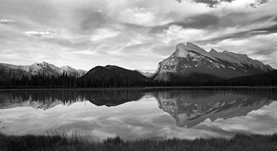 Art Print featuring the photograph Mt. Rundel Reflection Black And White by Andrew Serff