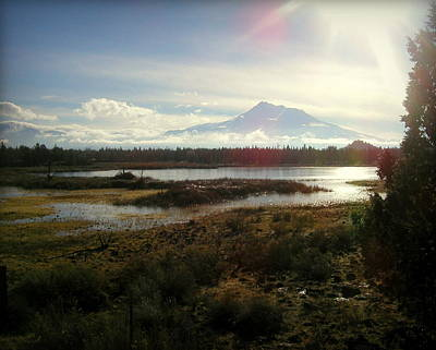 Mt Shasta Sunburst And Reflections Art Print by Cindy Wright