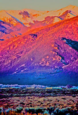 Digital Art - Mt Wheeler At Sunset by Charles Muhle