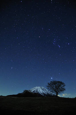 Winter Night Photograph - Mt.fuji In Winter by Takeshi.K