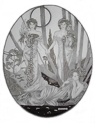 Mucha Drawing - Mucha Girls In The Moonlight by Kevin Wood