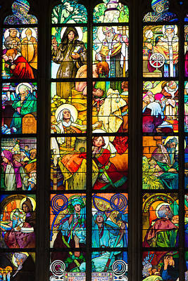 Fenster Photograph - Mucha Window Saint Vitus Cathedral Prague by Matthias Hauser