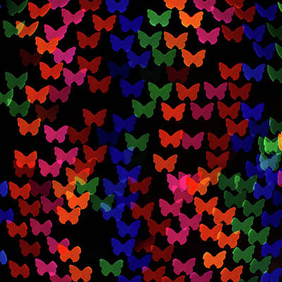 Multi Colored Photograph - Multi Colored Butterfly Shaped Lights by Lotus Carroll