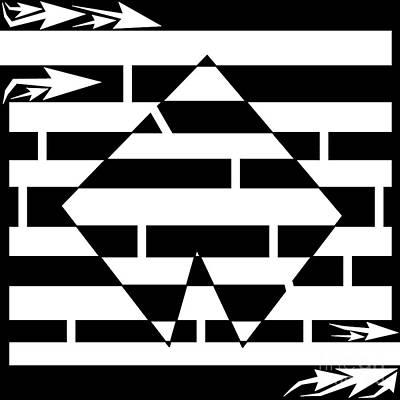 Yonatan Drawing - Multi Sided Shape Maze by Yonatan Frimer Maze Artist