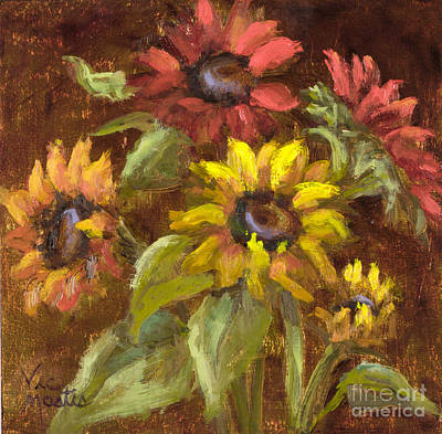 Multicolored Sunflowers With Gold Leaf By Vic Mastis Art Print by Vic  Mastis