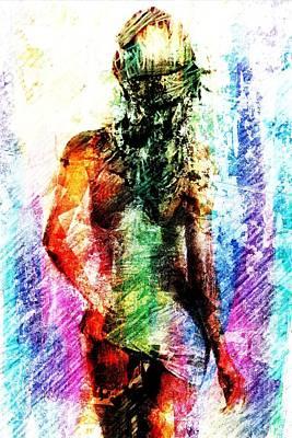 Art Print featuring the digital art Multicolorwoman by Andrea Barbieri
