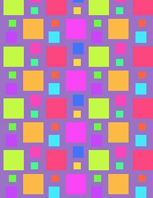 Digital Art - Multicoloured Squares by Louisa Knight